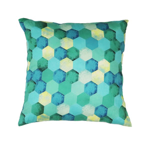 Turq Kaleidoscope Cushion Cover - Green The Map Upcycled Recycled Fairtrade Ecofriendly