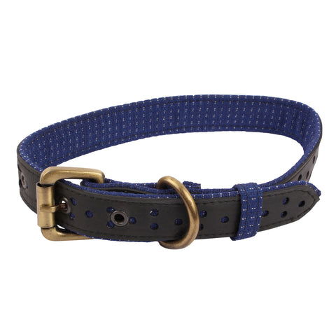 Upcycled tube dog collar Small Blue