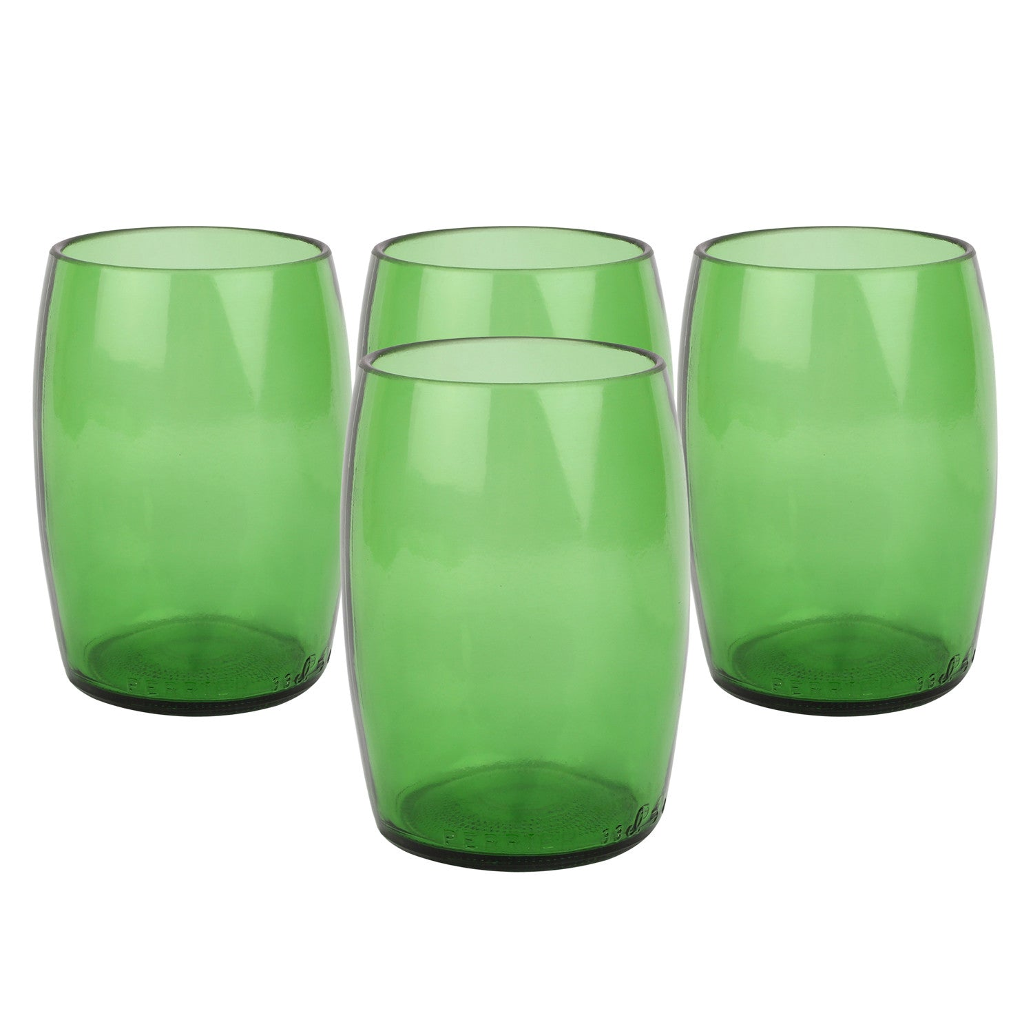 Upcycled Water glass- Beer (set of 4) - Green The Map Upcycled Recycled Fairtrade Ecofriendly