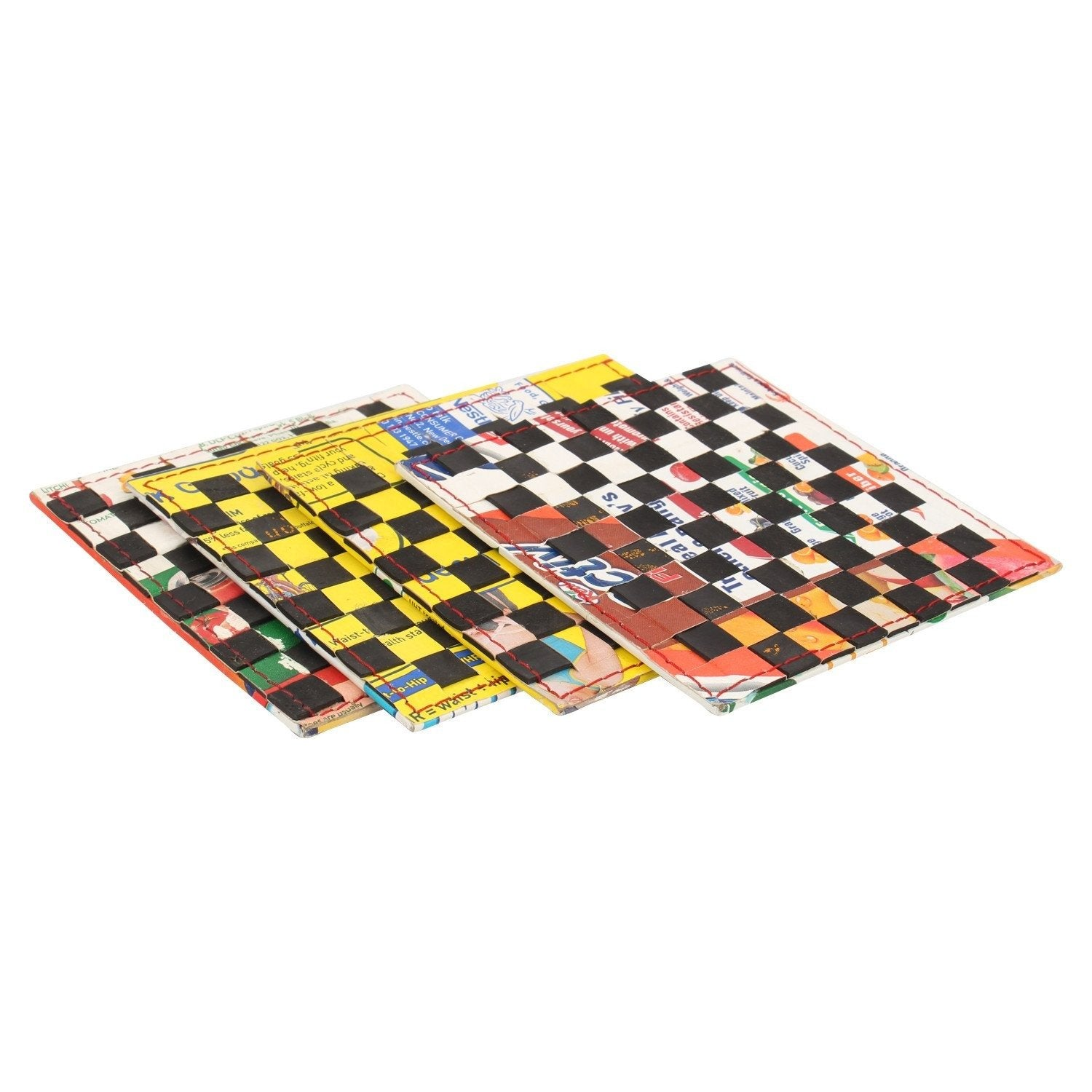 Chess coasters (Set of 4) - Green The Map Upcycled Recycled Fairtrade Ecofriendly