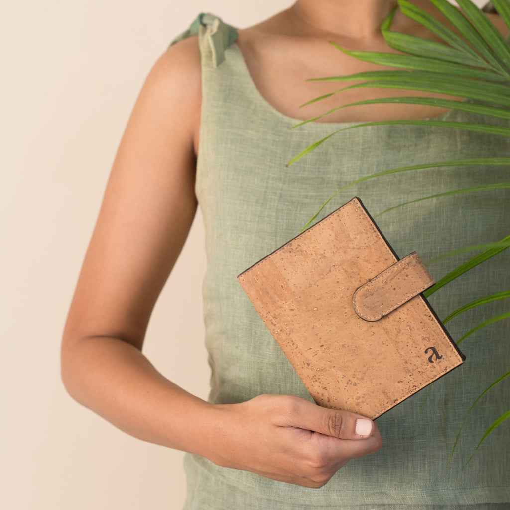 Cedar Passport Wallet - Natural + Brown - Green The Map Upcycled Recycled Fairtrade Ecofriendly
