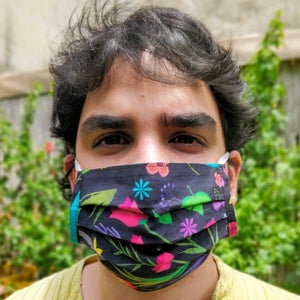 Organic Reversible Pleated Face Mask - Single - Green The Map Upcycled Recycled Fairtrade Ecofriendly