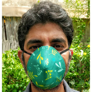 Organic Reversible Washable Round Face Mask - Green and Purple - Green The Map Upcycled Recycled Fairtrade Ecofriendly