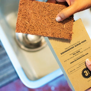 Natural Coconut Coir Dish washing Scrub Pads (Set of3) - Green The Map Upcycled Recycled Fairtrade Ecofriendly