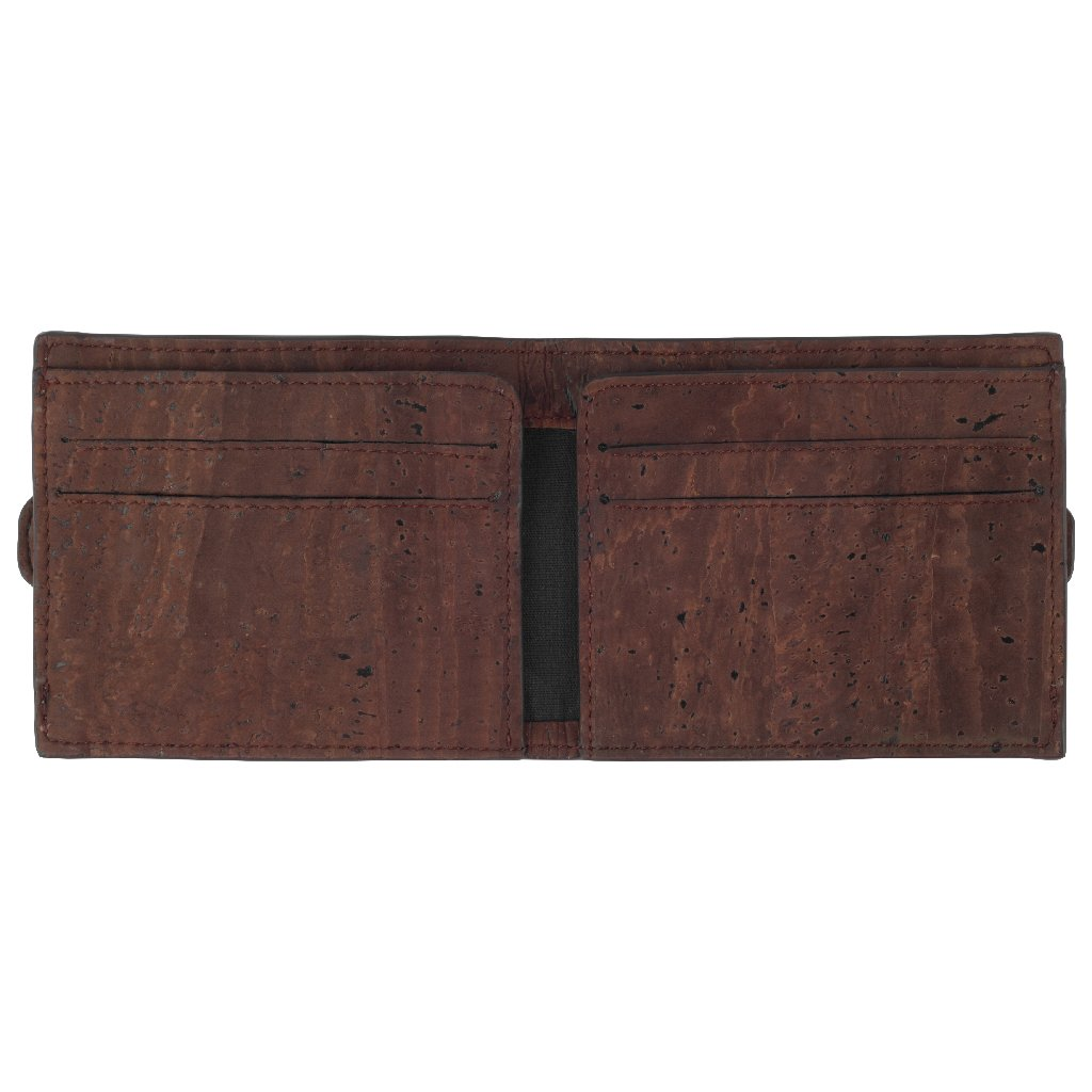 Arden Minimal Wallet - Natural + Brown - Green The Map Upcycled Recycled Fairtrade Ecofriendly