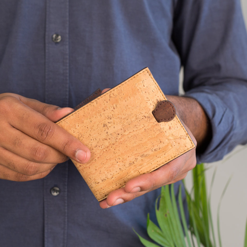 Arden Minimal Wallet - Natural + Brown - Green The Map :: Buy Online Eco Friendly Products - Upycled, Organic, Vegan, Handmade, Fair Trade, Green Products From