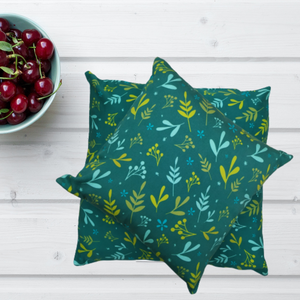Dreamy Leaves Cushion Cover - Green The Map Upcycled Recycled Fairtrade Ecofriendly