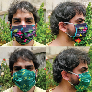 Organic Reversible Washable Pleated Face Mask - Set of 6 - Green The Map Upcycled Recycled Fairtrade Ecofriendly