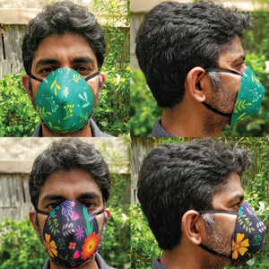 Organic Reversible Washable Round Face Mask - Set of 6 - Green The Map Upcycled Recycled Fairtrade Ecofriendly