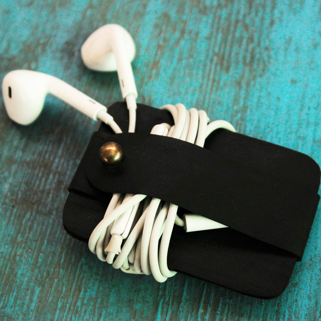 Upcycled Tube Earphone Organizer - Green The Map Upcycled Recycled Fairtrade Ecofriendly