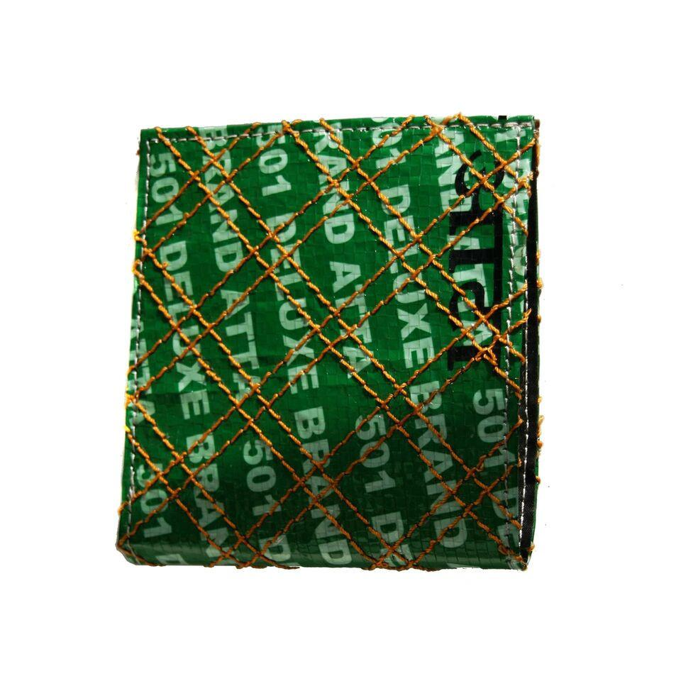 Men upcycled Rice Sack Wallet - Green The Map Upcycled Recycled Fairtrade Ecofriendly