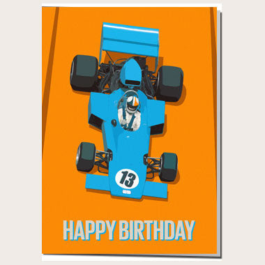 Blue Racing Car 13th Birthday Card