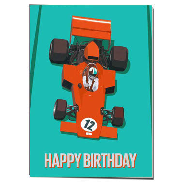 Red Racing Car 12th Birthday card