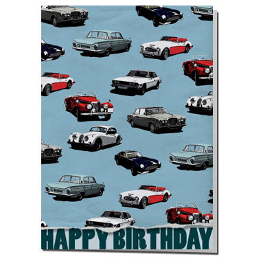 Classic Car wrapping paper birthday card