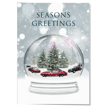 Classic car snow globe Christmas card
