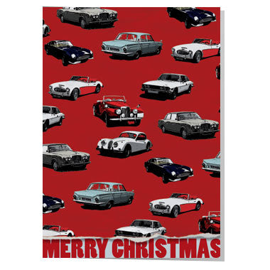 Classic car wrapping paper Christmas card