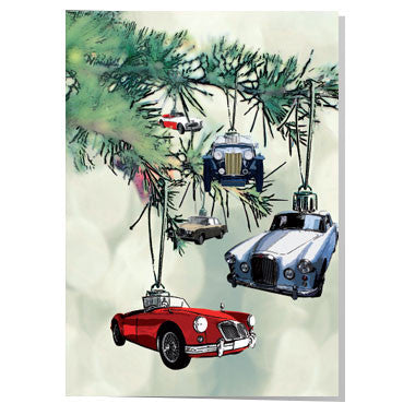 British classic cars Christmas card