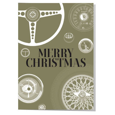 Classic car parts gold Christmas card