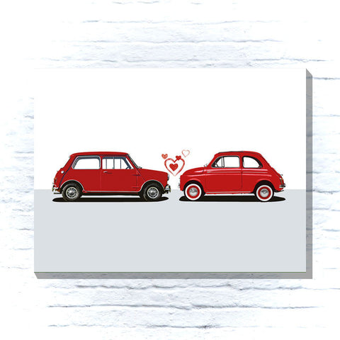 Mini and Fiat 500 Canvas