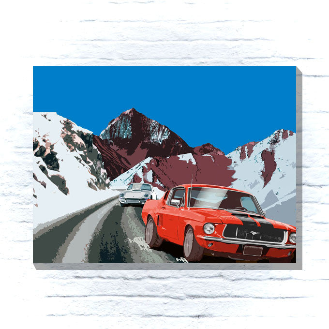 Ford Mustang in the mountains canvas