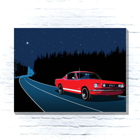 Mustang at night classic car canvas