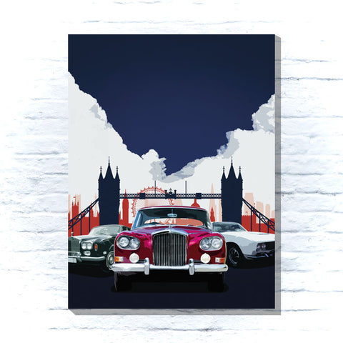 Classic cars and London skyline canvas
