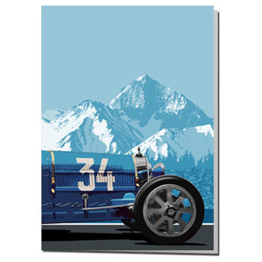 Bugatti racing car card