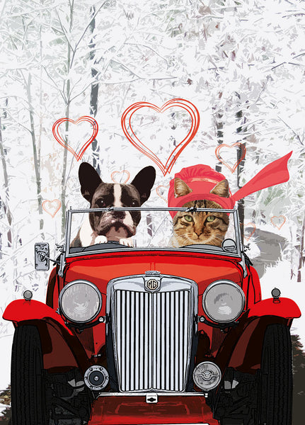MG dog and cat Valentine card
