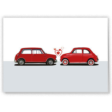 Mini and Fiat Valentine card