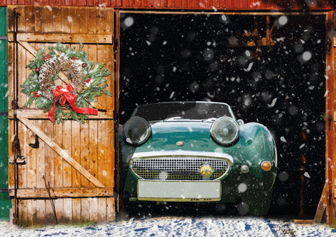 "Austin Healey ""Frog Eye"" Sprite Christmas card"