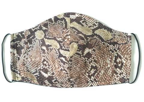 SNAKE PRINT FACE MASK (Brown)