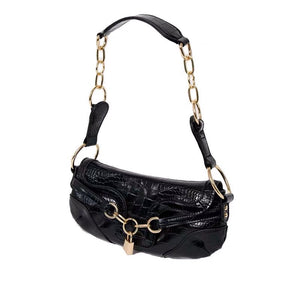 ALLIGATOR LOCK CHAIN SHOULDER BAG - 2 COLORS