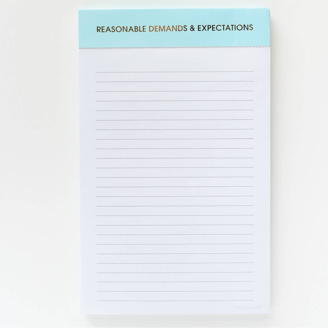 Reasonable Demands and Expectations Notepad