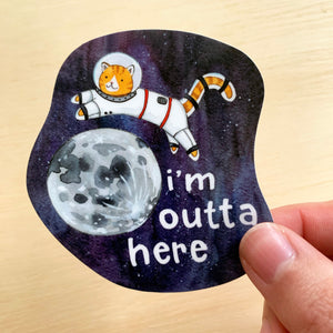 Outta Here Kitty Sticker