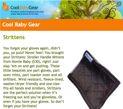 Cool Baby Gear Features the Stritten Stroller Mitten