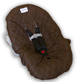 Brown & Blue Car Seat Cover for Infants & Babies