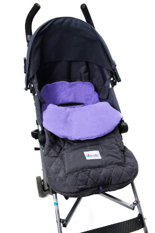 Quilted Gray with Purple Fleece Lined  Footmuff Stroller Blanket for Cozy Travel from Nomie Baby
