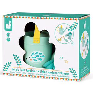 Little Gardender Playset by Janod including metal watering can, gloves, trowel and rake