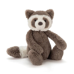 Chocolate brown and white raccoon Jellycat soft toy