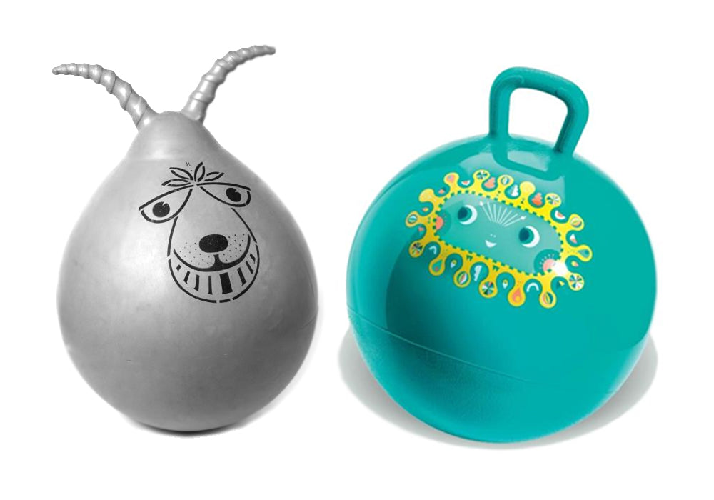 Retro space hopper verses new hopper version by Diego Space Hopper by Djeco