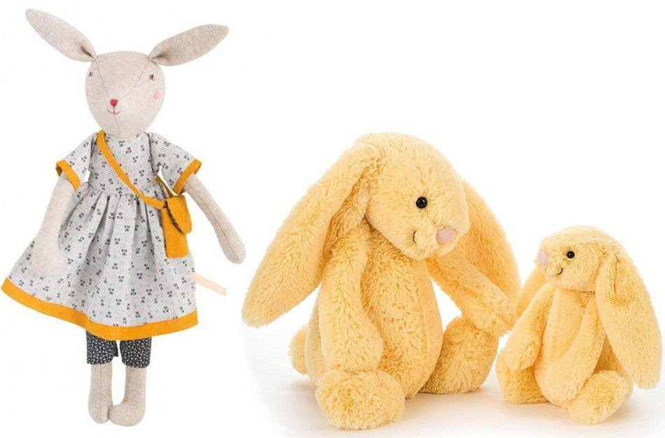 Moulin Roty rabbit soft toy and Jellycat lemon bunnies