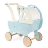 Blue and cream wooden doll pram by Le Toy Van