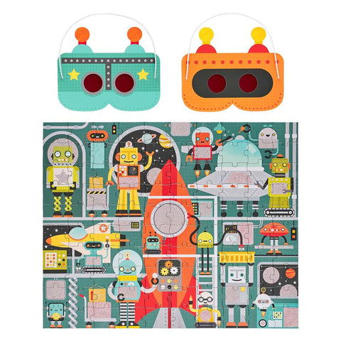 Robot factory decoder puzzle with magic decoder glasses