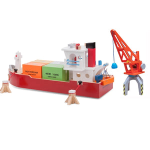 New Classic Toys Seaport Container Ship and Crane play set