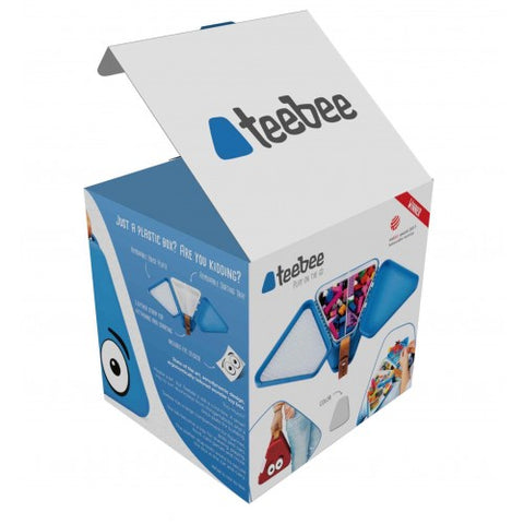 Retail packaging for Teebee portable toy box
