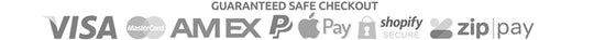 Safe checkout trust badge - Visa, Mastercard, AMEX, PayPal, Apple Pay, Shopify Secure, ZipPay