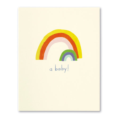 New baby greeting card with rainbow