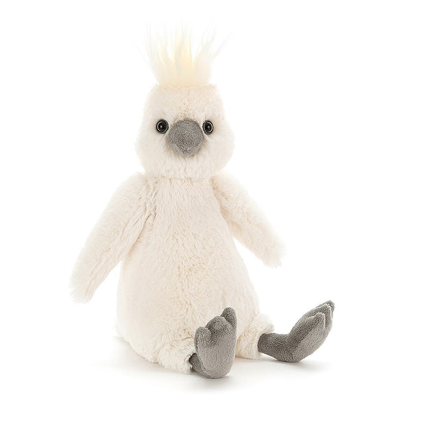 Jellycat bashful cockatoo soft toy with grey feet and yellow crest