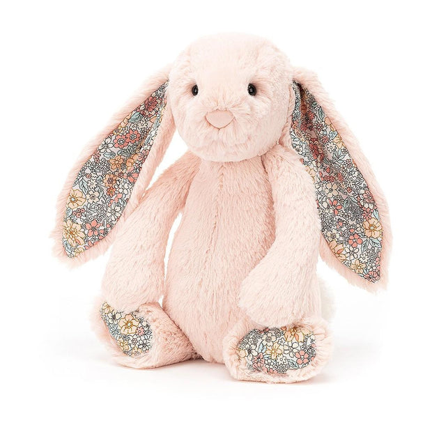 Blush colour Jellycat bunny soft toy with floral fabric ears