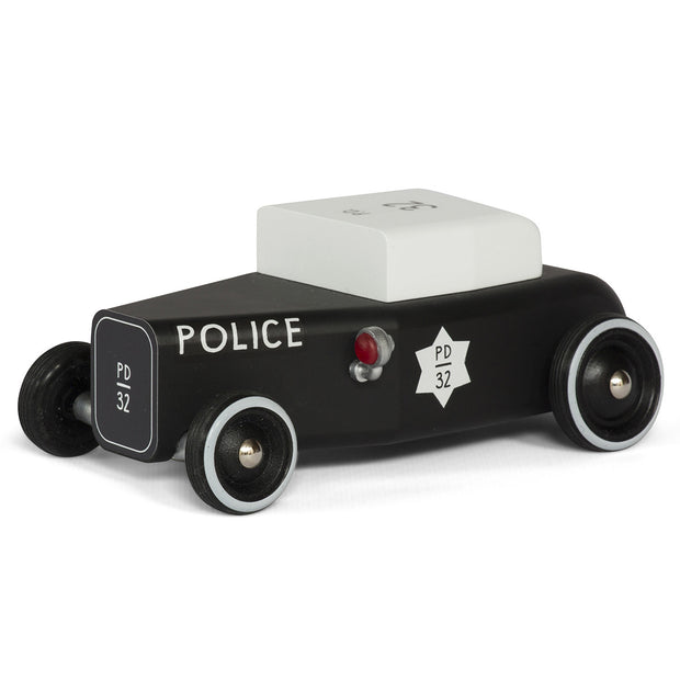 Black wooden Police car with white roof - Candylab Toys